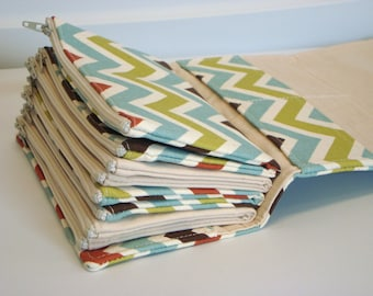 Cash Envelope Wallet  / Dave Ramsey System / Zipper Envelopes -  Village Chevron Zig Zag