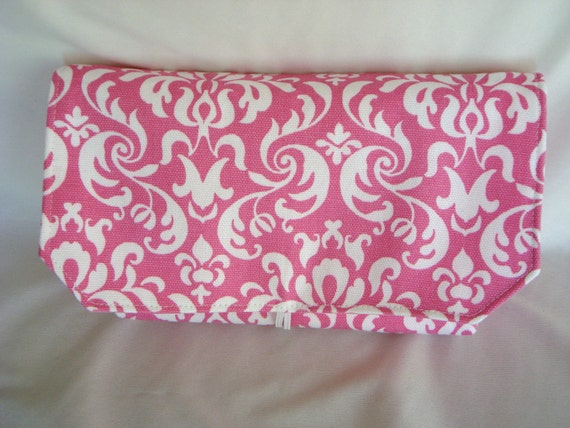Coupon Organizer /Budget Organizer Holder-  Attaches to Your Shopping Cart -Dandy Damask -Pink And White Decor Fabric