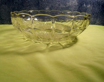 Large Pressed Glass Bowl with cut frosted Grape Design in Bottom