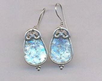 Earrings with Roman glass on  sterling silver earrings Israeli roman glass jewelry