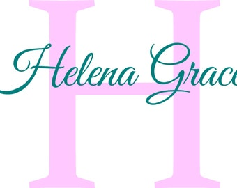 Nursery, Personalized Name Vinyl Wall Decal, Initial, Monogram, Girl's Room, Boy's Room, 22H x 30W