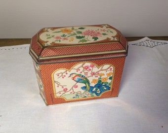 Vintage Tin Container EXOTIC ASIAN BIRDS William Crawford and Sons Rectangular