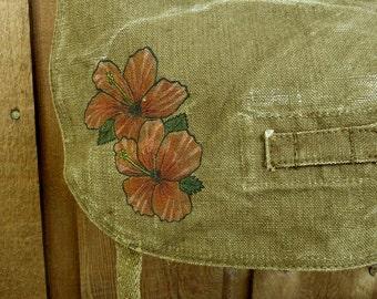 Hibiscus Vintage Purse - Linen Hemp Czech Vintage Military Bag - Hand Painted