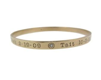 Personalized Gold Diamond Bangle Bracelets Hand Stamped 14K Names Birth Dates Custom Mom Stacking Bracelet Engraved Artisan Handmade Jewelry