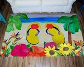 Flowers and Flip Flops Colorful Large Plush Area Rug from my art