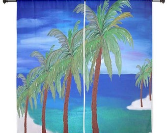 Palm Beach palm trees sheer curtains