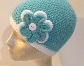 Armband Sea and White Double Flower Beanie