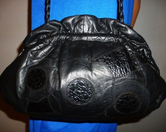 Vintage 80's - Viva - Jet  Black  - Patchwork Leather - Embossed Alligator - Ruched Opening - Braided Strap - Bag