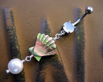 Belly Button Ring Jewelry, Pearl Shell Belly Button Jewelry Ring Piercing Oyster Clam Paua Abalone Long Charm Dangle Opal Navel Bar Barbell