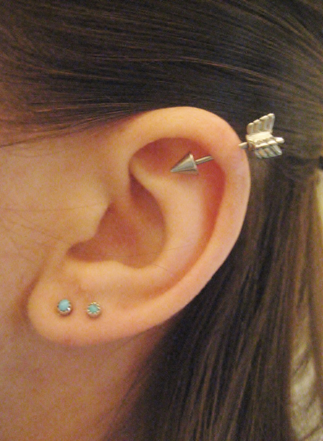 16 gauge arrow helix piercing earring stud post by for Helix piercing jewelry canada