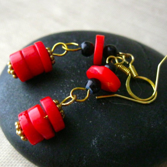 Red Coral Earrings With Black and Gold Accents, Coral Snake