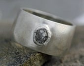 Rough Diamond Ring in Wide Hammered Sterling Silver