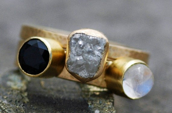 Custom 18k Recycled Gold Stacking Engagement and Wedding  Ring Set- Rough Diamond, Sapphire, and Indian Moonstone