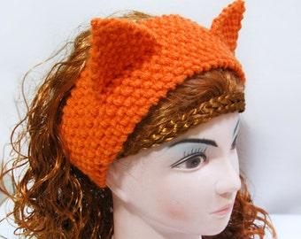 Fox Headband Ear Warmer Knitting Pattern,  Cat Ears, Headband Knitting Pattern n46