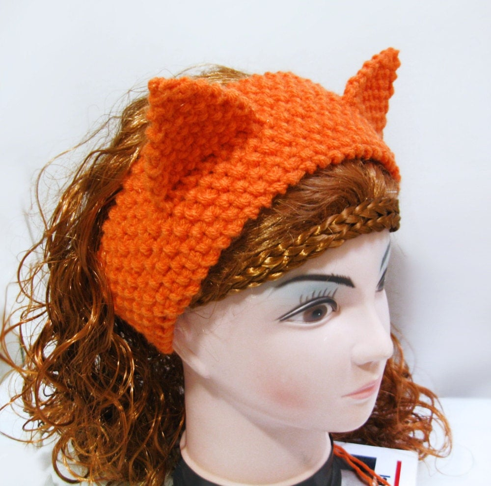 Knitting Pattern Headband Ear Warmer : Fox Headband Ear Warmer Knitting Pattern Cat Ears Headband