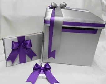 Wedding Accessories Reception Silver Grey Purple Guest Book Pen set Card Gift Box Your Colors