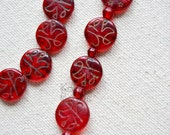 Antique Red Glass Islamic Coin Beads, Muslim Beads from Africa (Broken Pendant)