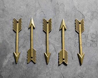 5 Large Brass Color Metal Arrow Charms, pendants, Antique Brass color 61X11mm