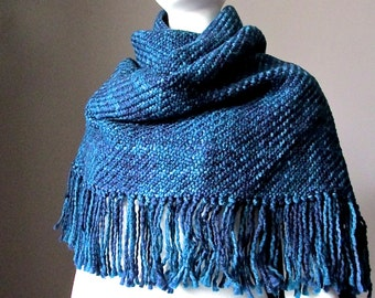 Super chunky winter scarf, knit scarf,  winter shawl, blanket scarf, navy scarf, winter wrap, fringed scarf