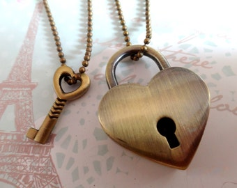 Key To My Heart. Best Friends BFF or Couple Necklaces.