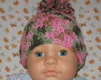 Pink Cammo Crochet Baby Hat with Pompom