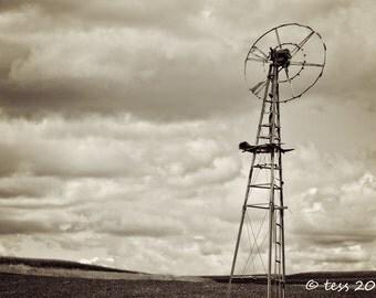 Old Farm Windmill Print - Sepia Farm Print - Sepia Windmill Print - Farm Landscape Photography