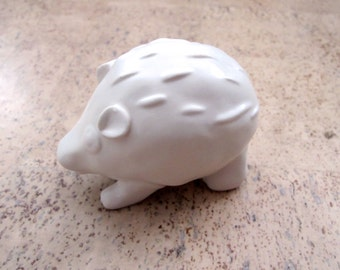 JILL ROSENWALD Hedgehog, Studio Pottery Hand Crafted Hedgehog, Porcupine Figurine Collectible Matte White Glaze
