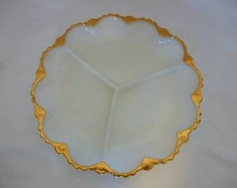 Vintage Anchor Hocking Milk Glass Divided Serving Dish, NIB