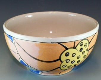 Small Ceramic Snack Bowl, Hand Painted in bold blue pink and orange, Pottery Bowl SKU1311-6