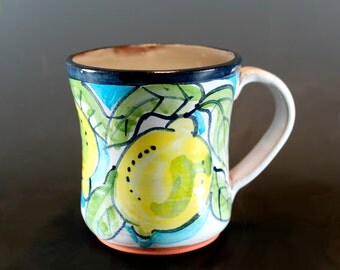 Handmade pottery Mug, Majolica Lemons and Leaves, Hand Painted Coffee m Mug, Ceramic Mug- SKU149-5