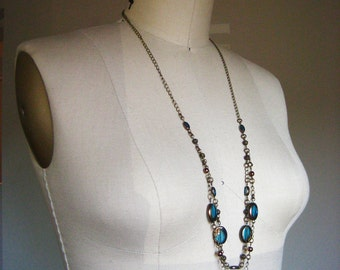 Gifts for her / Long multi-strand necklace with antique brass and bronze-rimmed turquoise glass beads / Westwood