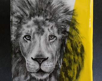 Hand Painted African Lion Portrait Wall Tile Bright Yellow