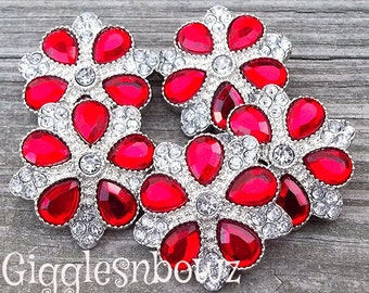 Rhinestone Buttons- NEW Set of FIVE LiMiTED EDiTiON FaNCY XL Buttons- Red and CLeAR 30mm