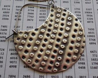 Sterling Silver Hoop Earrings, Large Textured Handwrought Sterling Hoop, Urban Primitive Ethnic Tribal Hoop, Artisan Handmade Silver Jewelry
