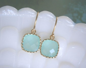 Mint Aqua Earrings, Petite Earrings, Gold Earrings, Simple, Everyday Jewelry, Wife Gift, Mom Gift