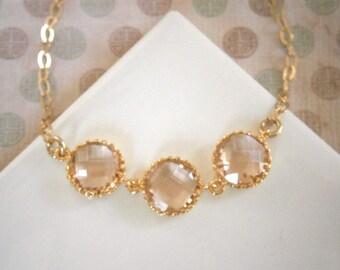 Triple Round Glass Bracelet, Blush Champagne Bracelet, Gold Bracelet, Blush Necklace, Gold Necklace, Sister Gift, Mother Gift