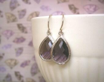 Amethyst Earrings, Purple Earrings, Silver Teardrop Earrings, Bridal Jewelry, Bridesmaid Earrings, Best Friend Birthday