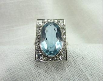 Circa 1930 6.12 Carat Aquamarine and Diamond Ring Set in Platinum