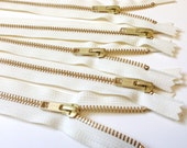 Gold teeth zippers, 5 inch brass YKK zippers with vanilla tape, FIVE pcs, YKK color 121