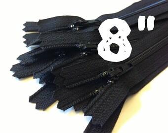 8 Inch black YKK zippers, 25 pcs, YKK color 580, dress, skirt, pouch zippers