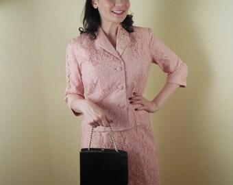 Vintage Pink Suit, 1960s lace suit, bridal
