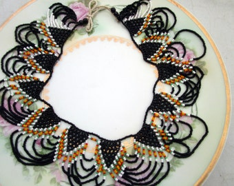 Vintage African woven beaded Collar statement Necklace