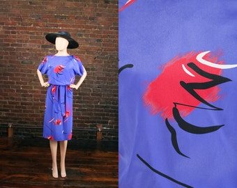 Vintage 80s New Wave Dolman Graphic Abstract Print Secretary Dress 1980s Blouson Dress (XS - S)