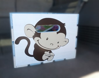 Personalized Wooden Crate with Monkey and Elephant