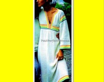INSTANT DOWNLOAD PDF Vintage Crochet Pattern  Striped Beach Kaftan Caftan  Cover Up Tunic  Maxi Dress 1970s