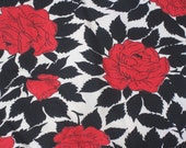 Striking Vintage Red White and Black Cotton Rose Fabric  3 YARDS