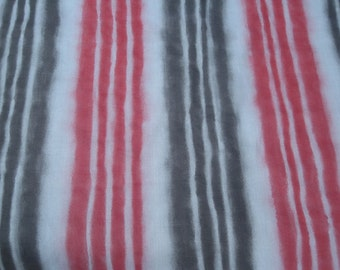 Awesome 1960s Fuzzy Stripe Fabric -Light Gray Dark Grey and Red