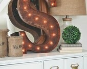 "Letter Light S - RUSTY - 24"" Vintage Marquee Lights-The Original!"