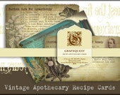 Vintage Apothecary NoteCards - Digital Paper- INSTANT DOWNLOAD-1 Page of Gorgeous High quality Notecard Images