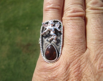 Sterling Silver Angel Themed Fire Agate Ring - Size 8 1/2 - FREE RESIZING